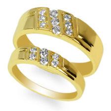 JamesJenny Couple Yellow Gold Plated Round CZ Pattern Ring Set Size 4-12