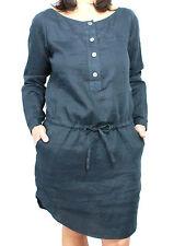 ASPESI vestido mujer mod H606 azul 100% lino