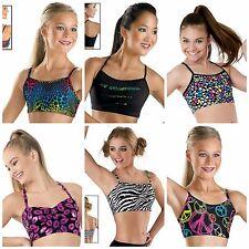 NEW Capezio Balera Dance Gymnastics Cheer Fun Print Crop Half Bra Top - You Pick