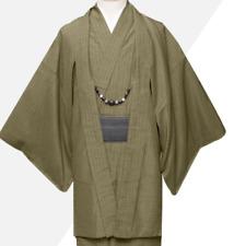 Japanisch Herren Traditionell Kimono Awase Haori Jacke Mantel Brown von Japan
