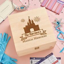 Personalised Wooden Keepsake Memory Box - Disney Holiday - Castle -