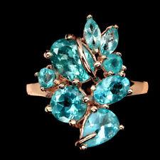925 Sterling Silber Ring, 57 & 59  Roségold beschichtet, Neon Blau Apatit