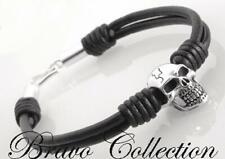 Wristband Men's Skull Bracelet 1B-153 Custom Made Solid Sterling Silver Leather