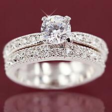 18K WHITE GOLD GF SOLITAIRE DIAMOND CHANNEL SET LADY ENGAGEMENT WEDDING RING SET