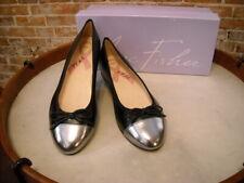 Marc Fisher Pewter & Black Leather Captoe Bow Jodi Ballet Flats NEW