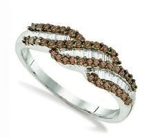 Chocolate Brown & White Diamond Ring .48ct Round & Baguette Diamonds .925 Silver