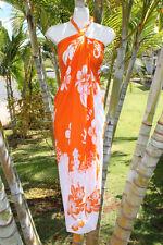 Sarong Orange & White Hibiscus Hawaii Hawaiian Pareo Luau Cruise Wrap Dress