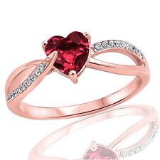 18k Rosa Placcato Oro Moda Granato Cuore Infinity Zirconia Cubica