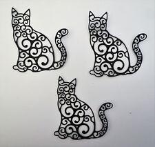Cat Intricate Fancy Large Paper Cardstock Die Cut 3 Pcs Cardmaking Scrapbooking