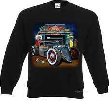 Sweatshirt in Black V8 Old School Hot rod-& `50 Style Emotiv Model Rat Rod
