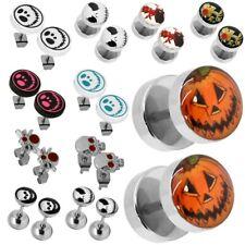 Halloween Falso Fake-Plugs Orecchini Acciaio Inossidabile Piercing Cranio Zucca