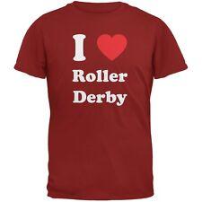 I Heart Roller Derby Cardinal Red Adult T-Shirt