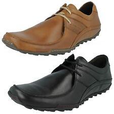 Hombre Base London Informal Canela Ceroso Negro Cordón Zapatos Cuero
