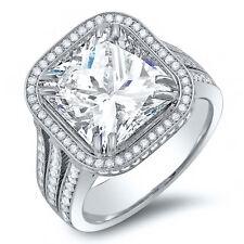 3.10 Ct. Radiant Cut Pave Diamond Split Shank Halo Engagement Ring G,VS1 EGL New