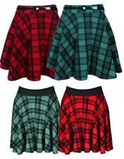 Women's red tartan check print belted skater & Elastic Waist flared skirt 8-18