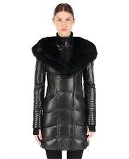 100% Authentic Rudsak Black Sia Leather Down Coat With Fur Trim *NWT*