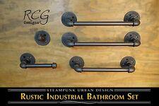 Industrial Bathroom Pipe Set B (2 Towel Racks, Hook, Tp Holder, Hand Towel Bar)