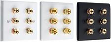 Audio Speaker 3.0 AV Wall Face Plate 6 Terminal Binding Posts for Banana Plugs