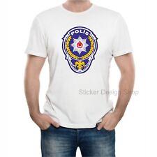 Polis Logo T-Shirt Druck Baumwolle Fruit of The Loom Türkiye Istanbul Weiß