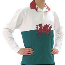 Da Uomo Bandiera Gallese Rugby Camicia L/S Rosso a Contrasto su colletto