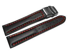 Band mit Faltschließe - Leder - glatt - schwarz rote Naht - 18,20,22,24,26 mm