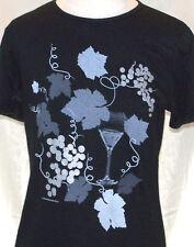 T-Shirt Grape Cluster and Vines Black Ladies Wine Design Eco Cotton Loose Fit