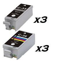 6 Inchiostri IGP 35 & CLI 36 PER CANON PIXMA iP100, Ip100,