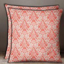 S4Sassy 1 Pair Floral Damask Print Decorative Salmon Cotton Poplin Cushion Cover