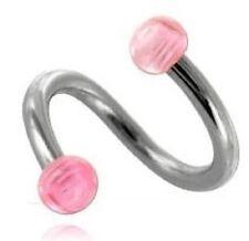 Un piercing Micro spirale de 1.2 mm 16 G bille de 3 mm ROSE en acrylique