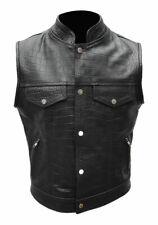 Mens Motorcycle Bikers Vest Black Crocodile Print Leather Waistcoat Jacket