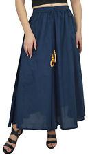 Bimba Women's Cotton Bohemian Style Elastic Tassels Waist Navy Blue Skirt