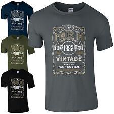 Made In 1982 T-shirt Born 36th année anniversaire âge présent Vintage Drôle Pour Homme Cadeau