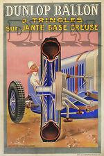 PLAQUE ALU DECO DUNLOP BALLON JANTE BASE CREUSE 1922 VOITURE COMPETITION COURSE