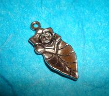 Rose Leaf Charm Tibetan Silver Flower Garden Charm