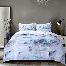 Holiday Xmas gift elegant blue marble print bedding duvet cover set pillow case