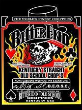Bitter End Choppers T-Shirts Bourbon Label Design