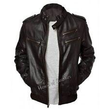 Men's Enzo Biker Motorcycle SlimFit Black Soft Sheepskin Leather Jacket