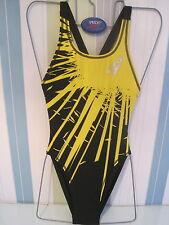 SPEEDO SWIMWEAR FEMALE  BLACK/YELLOW EXPLODE LINED HIGH LEG LYCRA LEADERBACK