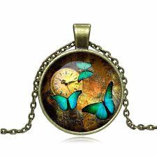 "BUTTERFLIES Glass Dome Silver or Bronze-tone 18"" Cabochon Pendant Necklace"