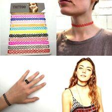 Women Tattoo Choker Stretch Necklace Bracelet Ring Anklet Retro Henna UK SELLER