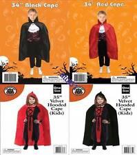 CHILDREN KIDS Hooded Cloak Black Red Velvet Cape Halloween Fancy Dress Costume