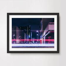 Noche De Neón Ultra Moderno Ciudad Paisaje Urbano fotográfico cartel de impresión de arte Decoración Hogar