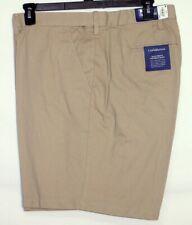 NWT Men's Croft & Barrow Khaki Flat Front Shorts Flexible Waist 52