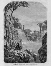 Stampa antica PARIGI Bois de BOULOGNE Cascata 1859 Ancien Gravure Old Print