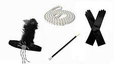 1920s Great Gatsby Fancy Dress Accessory Headpiece Gloves Cigarette Holder Bead
