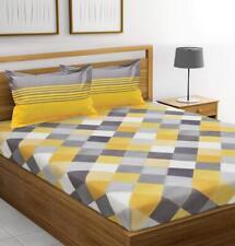 Ahmedabad Cotton 144 TC 100% Cotton Bedsheet Pillow Covers Yellow & Grey