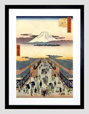 Pintura xilografía japonesa mercado nueva impresión de arte enmarcado Negro B12X10820