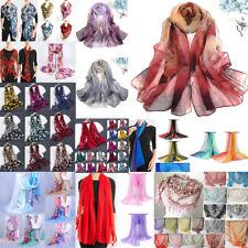 Fashion Women Lady Georgette Soft Scarves Floral Beach Shoulder Wrap Silk Scarf