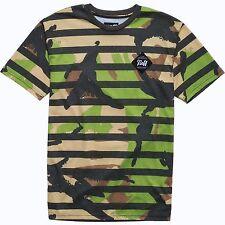 NEFF Commando STRIPE Cut N Sew URBAN Camo SKATE BOARD and SURF T-SHIRT Mens sz &