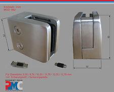 Edelstahl V2A Glashalter flach Glasklemme Glass Clamp + Sicherungsplatte